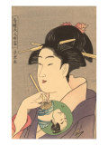 Japanese Woodblock, Lady with Small Fan Print