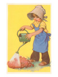 Child in Bonnet with Watering Can Poster