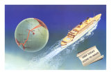 Here Today, Gone to Maui, Cruise Ship with Routes on Globe Prints