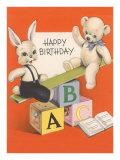 Happy Birthday, Rabbit and Teddy Bear on See-Saw Art