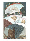 Sleeping Children with Umbrella Prints