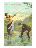 Sun Valley, Idaho, Woman Hooking Skirt in Stream Posters