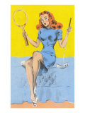 Buxom Redhead with Tennis Racket and Putter Posters