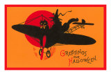 Greetings for Halloween, Cat and Witch in Plane Posters