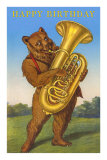 Happy Birthday, Bear with Tuba Posters