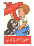 Happy Birthday To a Super Boy, Plane and Puppy Prints