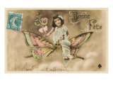 French Girl on Butterfly, Bonne Fete Posters