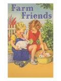 Farm Friends, Children with Rabbits Prints