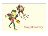 Dapper Frog with Bouquet, Happy Anniversary Posters
