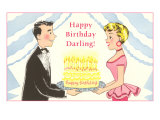Happy Birthday Darling, Cartoon Couple with Cake Poster