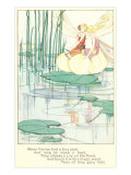 Fashionable Fairies on Lily Pad Poster