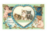 Victorian Kittens and Cupids, Love's Message Art