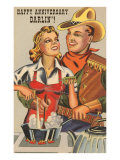Happy Anniversary Darlin', Cowboy and Cowgirl Cooking Poster
