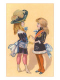 Dressed-Up Victorian Girls Poster