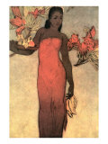 Hawaiian Woman with Fruit and Flowers Print