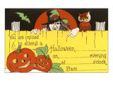 Halloween Party Invitation, Witch, Jack O'Lanterns Print