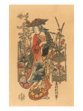 Japanese Woodblock, Lady Flower Seller Art