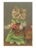 Dressed Kitten with Straw Hat Prints