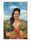 Wahini with Pineapples, Hawaii Poster