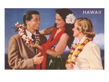 Hawaii, Tourist Couple Getting Lei Print