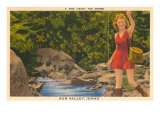 Fishing in Sun Valley, Idaho, Girl in Sun Dress Prints