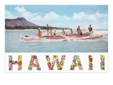Hawaii, Outrigger at Diamond Head Posters