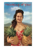 Thinking of You, Hawaiian Woman with Two Pineapples Prints