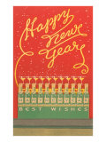 Happy New Year, Stylized Bottles and Glasses Prints