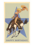 Happy Birthday, Cowgirl on Bronco Prints