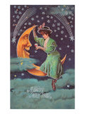A Happy New Year, Victorian Lady on Moon Posters