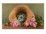 Kitten in Straw Hat with Roses Print
