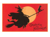 Greetings for Halloween, Witch on Broomstick Prints