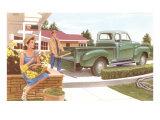 Fifties Suburban Gardening Scene Prints