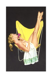Lady on Telephone with Legs Up on Chair Back Photo