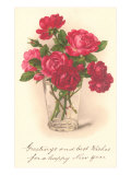 Red Roses in Drinking Glass Poster