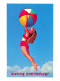 Happy Birthday, Girl Leaping with Beach Ball Poster