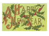 Happy New Year, Holly Sprigs Posters