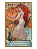 A Happy Halloween, Victorian Lady with Jack O'Lantern Prints