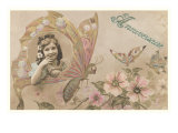 Anniversaire, Victorian Girl in Butterfly Wing Prints