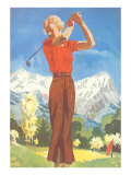 Lady Golfing in the Mountains Prints
