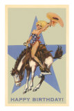 Happy Birthday, Cowgirl on Bronco Print