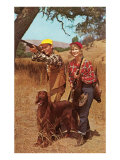 Couple Shooting with Irish Setter Prints