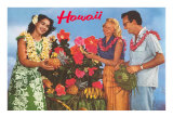 Hawaii, Tourist Couple, Fruit, Hawaiian Lady Art