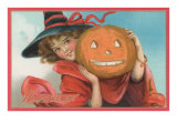 Young Girl Witch with Jack O'Lantern Poster