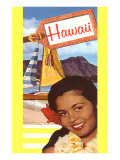 Hawaii, Native Girl with Sailboat Prints