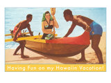 Having Fun in Hawaii, Woman in Outrigger Posters