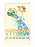 Costumed Lady Watering Daffodils Print
