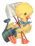 Duckling with Garden Tools Posters