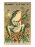 Joyeux anniversaire, grenouille jouant du banjo Affiche