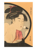 Japanese Woodblock, Woman at Toilette Print